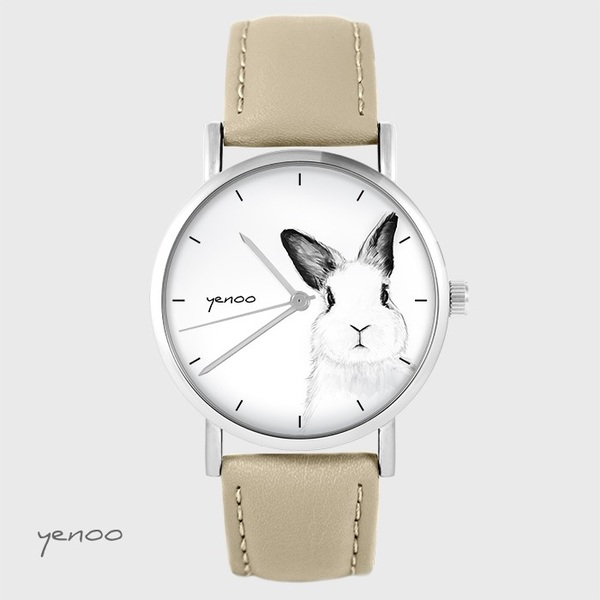 Zegarek yenoo - Królik - beżowy, skórzany