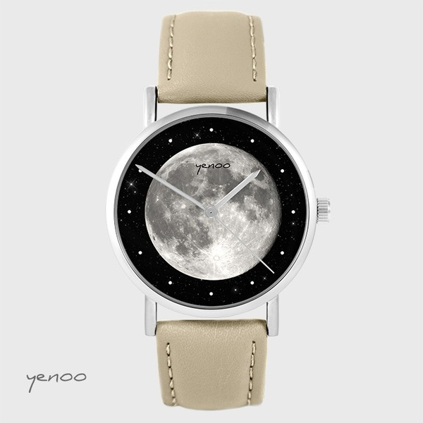 Yenoo watch - Moon - beige, leather