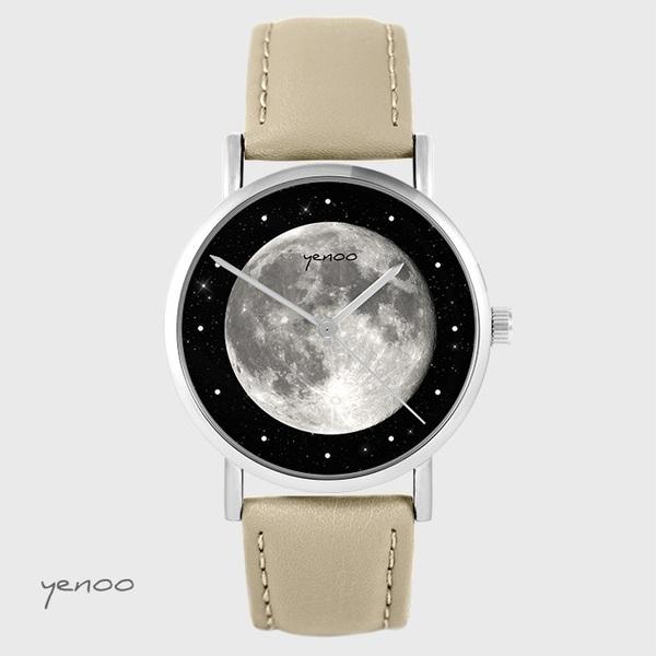 Zegarek yenoo - Księżyc - beżowy, skórzany