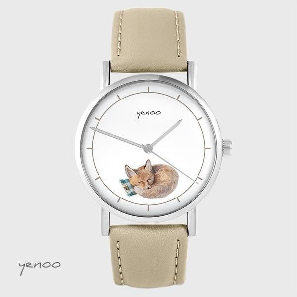Zegarek yenoo - Lisek - beżowy, skórzany