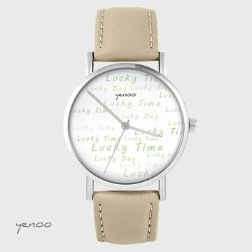 Yenoo watch - Lucky day - beige, leather