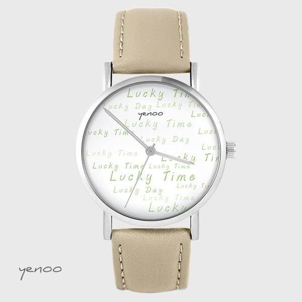 Yenoo watch - Lucky day - beige, leather