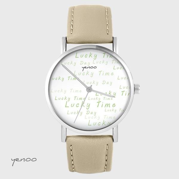 Zegarek yenoo - Lucky day - beżowy, skórzany