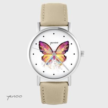 Yenoo watch - Butterfly - beige, leather