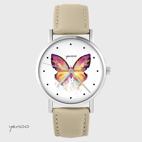 Yenoo watch - Butterfly - beige, leather