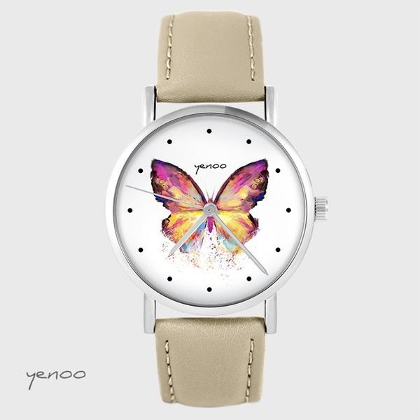 Zegarek yenoo - Motyl - beżowy, skórzany