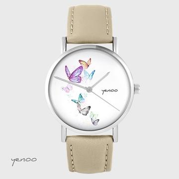 Yenoo watch - Butterflies - beige, leather