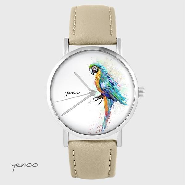 Zegarek yenoo - Papuga turkusowa - beżowy, skórzany