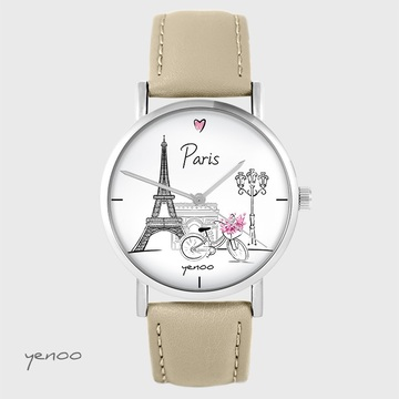 Yenoo watch - Paris - beige, leather