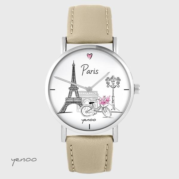 Zegarek yenoo - Paryż - beżowy, skórzany