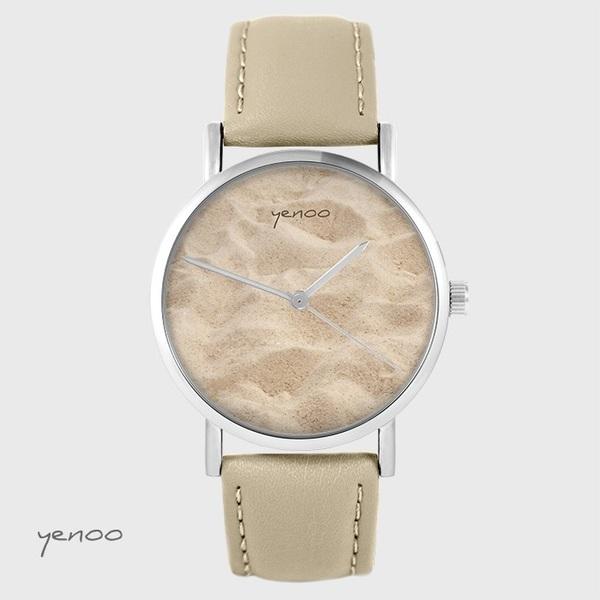 Zegarek yenoo - Piasek - beżowy, skórzany