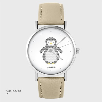 Yenoo watch - Penguin, markings - beige, leather