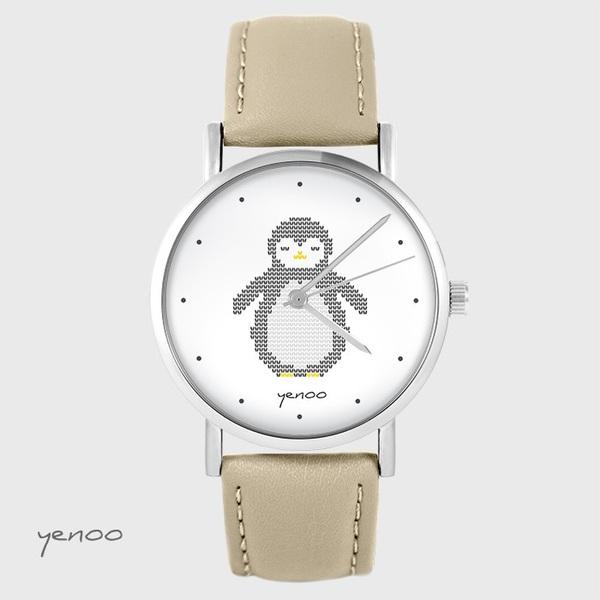 Zegarek yenoo - Pingwin, oznaczenia - beżowy, skórzany