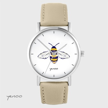 Yenoo watch - Bee - beige, leather