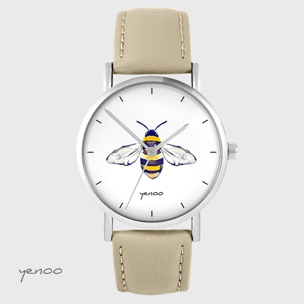 Yenoo watch - Bee - beige, leather