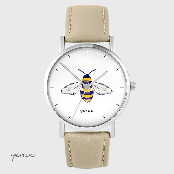 Zegarek yenoo - Pszczoła - beżowy, skórzany