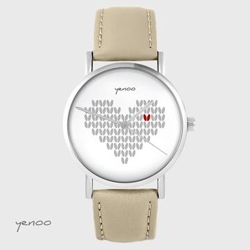 Yenoo watch - Knitted heart - beige, leather