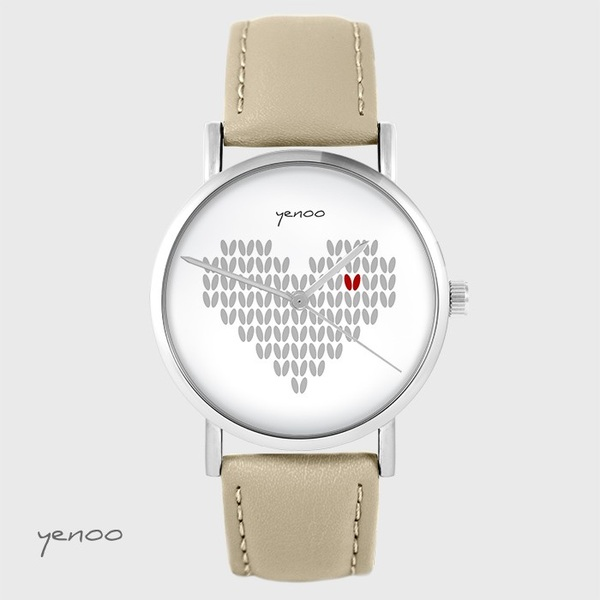 Yenoo watch - Knitted heart - beige, leather
