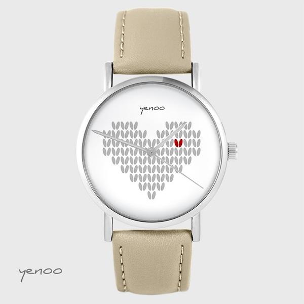 Zegarek yenoo - Serce dziergane - beżowy, skórzany