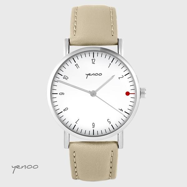Zegarek yenoo - Simple elegance, biały - beżowy, skórzany