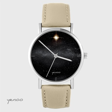 Yenoo - Star watch - beige, leather