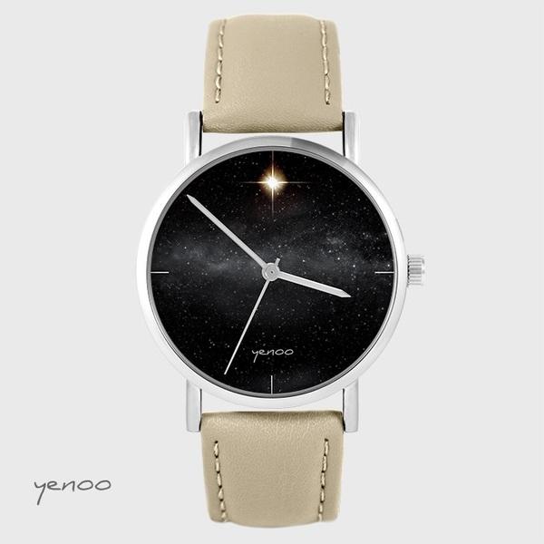 Zegarek yenoo - Star - beżowy, skórzany