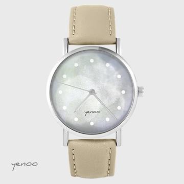 Yenoo watch - Gray - beige, leather