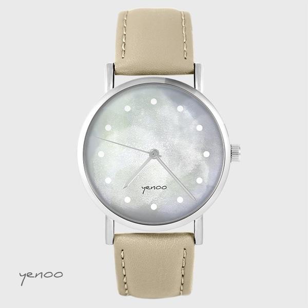 Zegarek yenoo - Szary - beżowy, skórzany