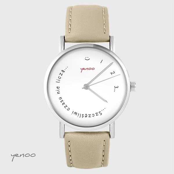 Yenoo watch - Happy do not count time - beige, leather