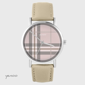 Yenoo watch - Tartan, pink - beige, leather