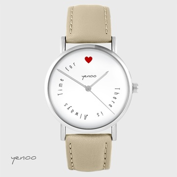 Yenoo watch - There is ... - beige, leather