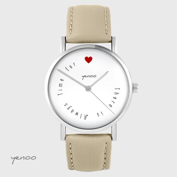 Zegarek yenoo - There is... - beżowy, skórzany