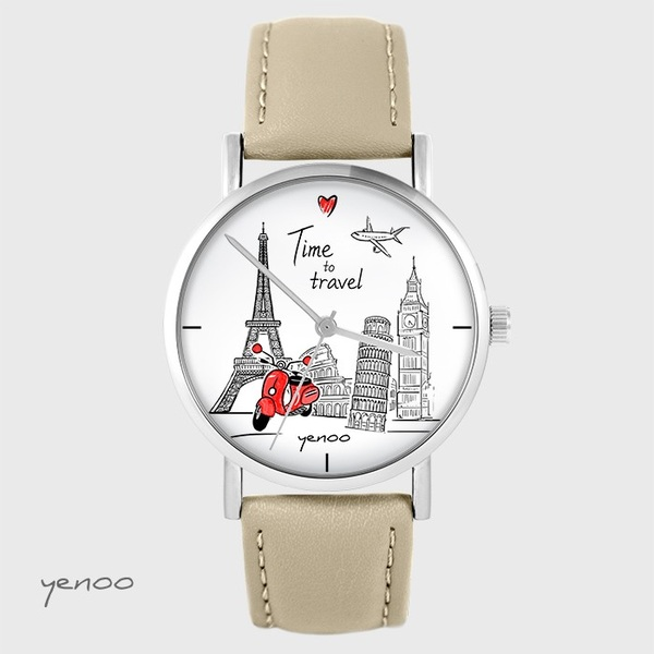 Watch yenoo - Time to travel - beige, leather