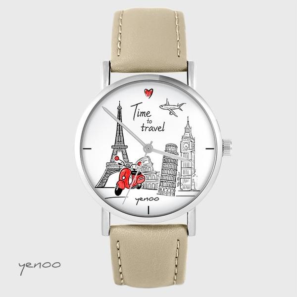 Zegarek yenoo - Time to travel - beżowy, skórzany