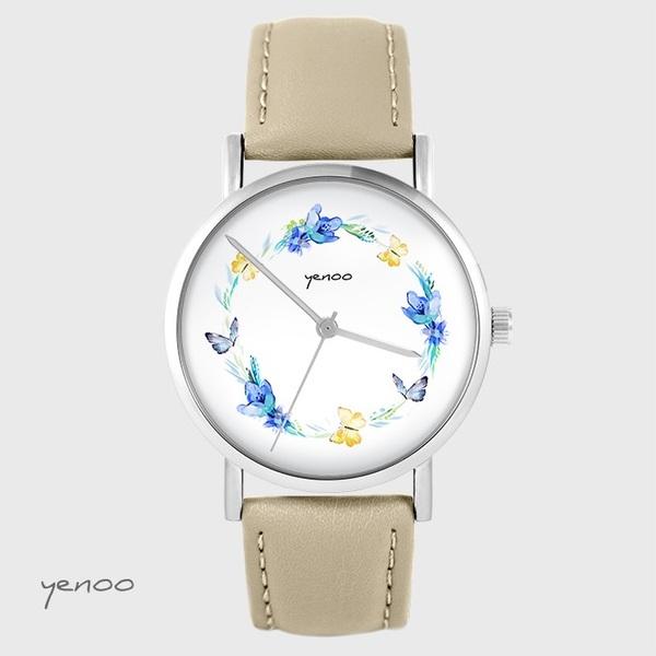 Zegarek yenoo - Wianek motyle - beżowy, skórzany