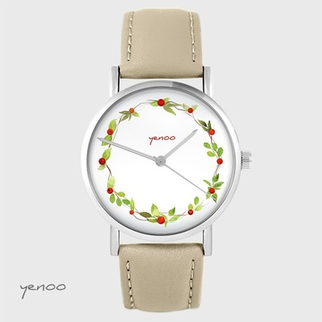 Yenoo watch - Wreath, wild rose - beige, leather