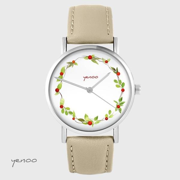 Zegarek yenoo - Wianek, dzika róża - beżowy, skórzany