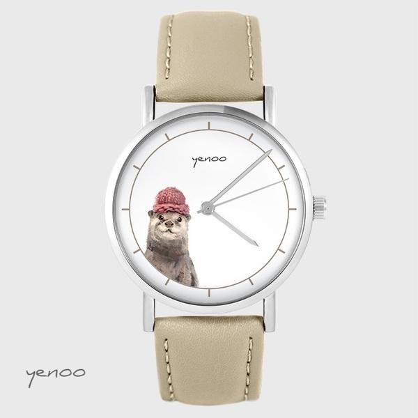 Zegarek yenoo - Wydra - beżowy, skórzany