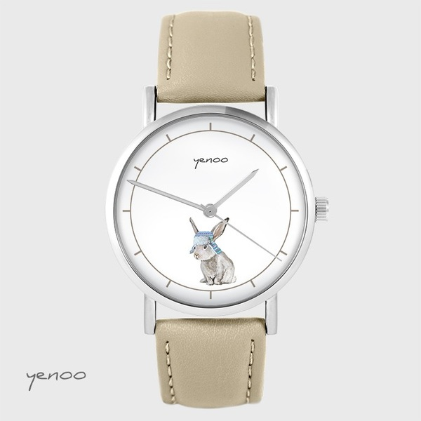 Yenoo watch - Hare - beige, leather