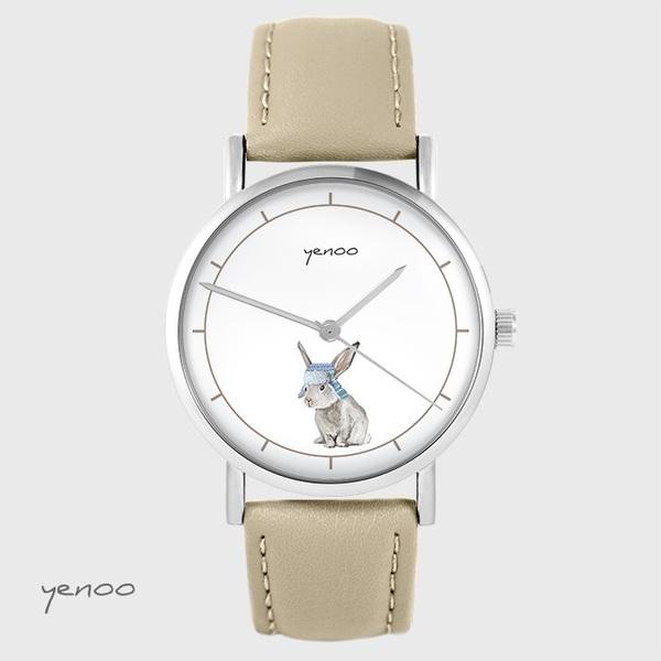 Zegarek yenoo - Zając - beżowy, skórzany