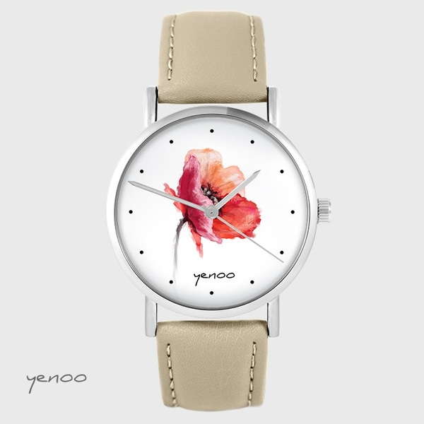Yenoo watch - Poppy - beige, leather