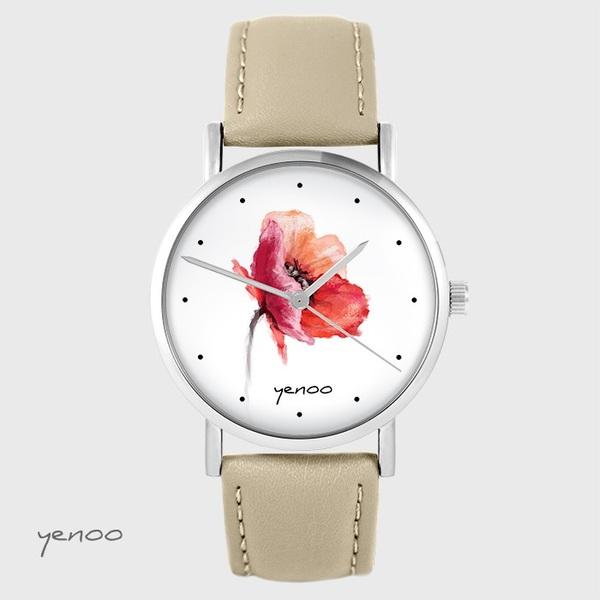 Zegarek yenoo - Mak - beżowy, skórzany