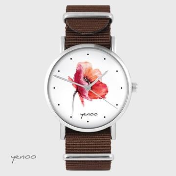Yenoo watch - Poppy - brown, nato