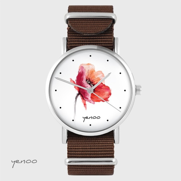 Yenoo watch - Poppy - brown, nato