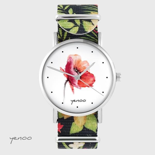Zegarek yenoo - Mak - czarny, kwiaty, nato