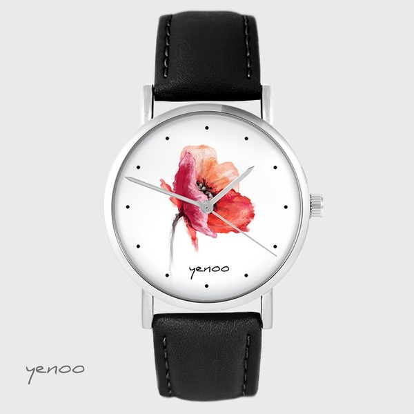 Zegarek yenoo - Mak - czarny, skórzany
