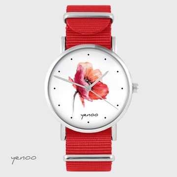 Yenoo watch - Poppy - red, nato