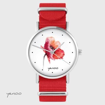 Yenoo watch - Poppy - red, nato