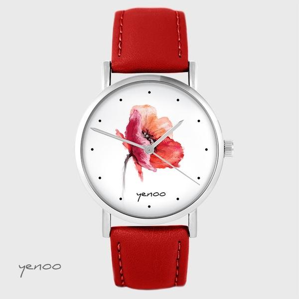 Zegarek yenoo - Mak - czerwony, skórzany