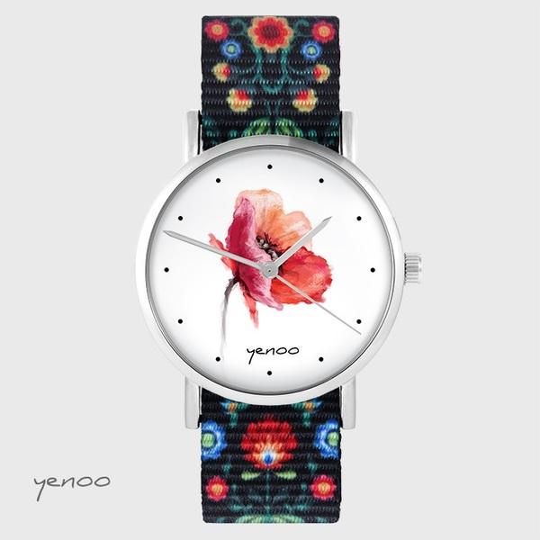 Zegarek yenoo - Mak - folkowy czarny, nato